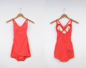 vintage 60s coral bathing suit // 1960's pink swimsuit