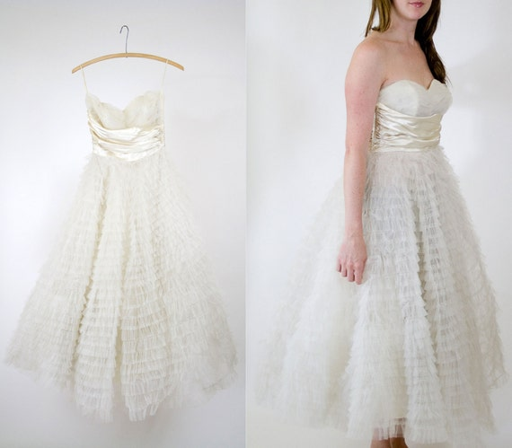 RESERVED vintage 50s white tulle wedding dress // 1950s ruffle prom dress