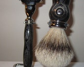 Domawood Monarch Shaving Set. Badger Hair Shaving Brush Gillette Mach 3 Razor and Stand