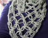 Alpaca - Hand Crocheted Fren Green Triangle Scarf