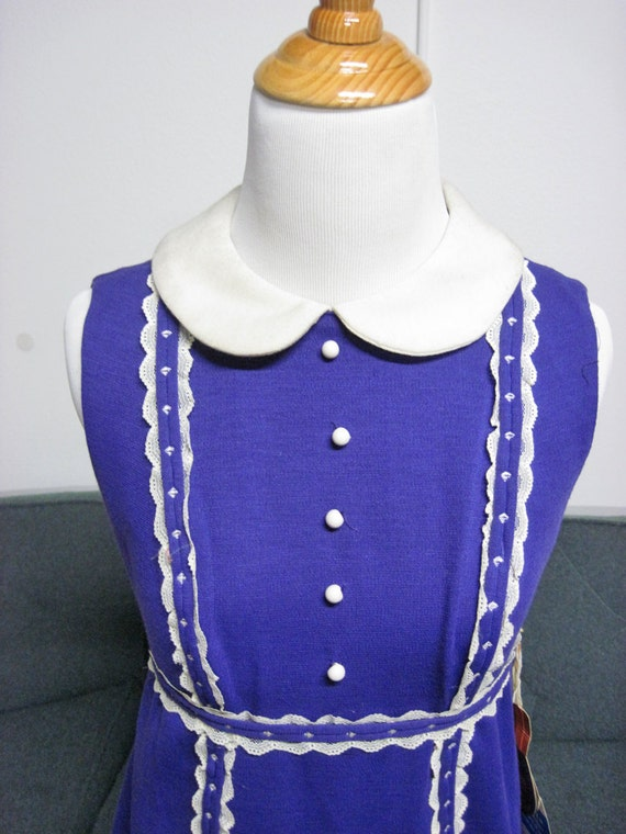 VINTAGE 60s  Purple Mod mini dress Aline babydoll peter pan collar scooter dress  w/Original Tags  XS/S