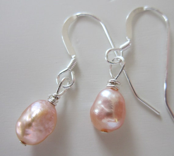 Soft Peach Pink Freshwater Pearl Drop Earrings - Small, Delicate, Dressy, Bride, Bridal, Wedding, Bridesmaid