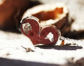 Heart Pendant/ Necklace - Stainless Steel with Blood Red Tinted Concrete & Clear Glass with Mirrored Glass Embellishment