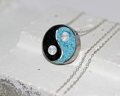 Yin Yang Pendant/ Necklace Stainless Steel with Powder Blue & Black Tinted Concrete with Crushed Glass