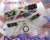 US NAVY military wedding prom camouflage garters - ivory sheer organza garter set - size xs s m l xl xxl