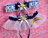 custom sizing SAN DIEGO CHARGERS fabric handmade into wedding bridal garters set - size xs s m l xl