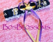 BALTIMORE RAVENS fabric handmade into wedding bridal garter - size xs s m l xl