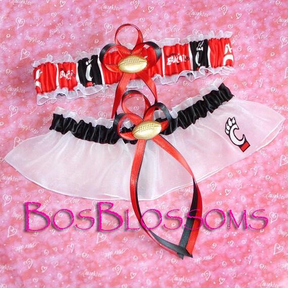 University of CINCINNATI BEARCATS fabric handmade into football garters - garter set - size xs s m l xl