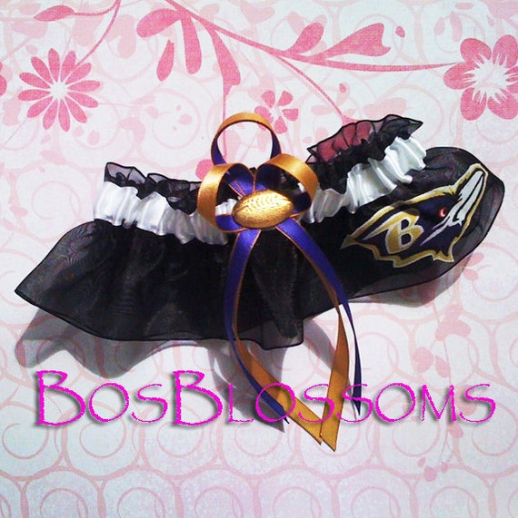 BALTIMORE RAVENS -raven logo- fabric handmade on black organza into bridal prom keepsake garter - size xs s m l xl xxl