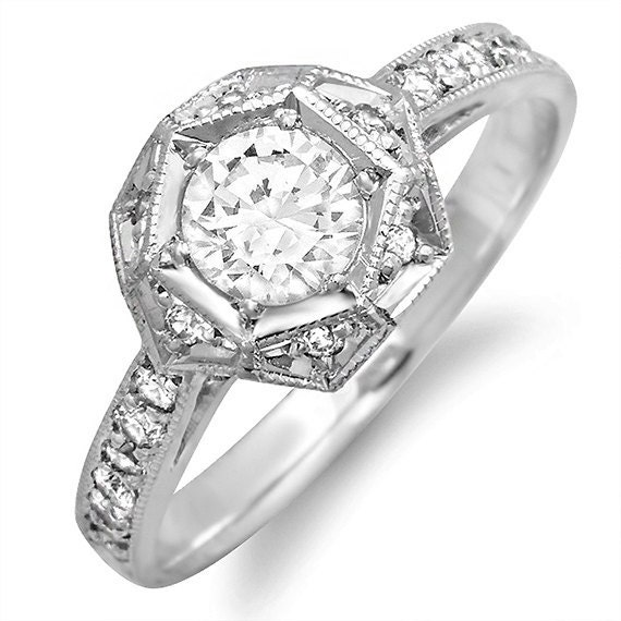 18kt white gold deco style engagement ring pave