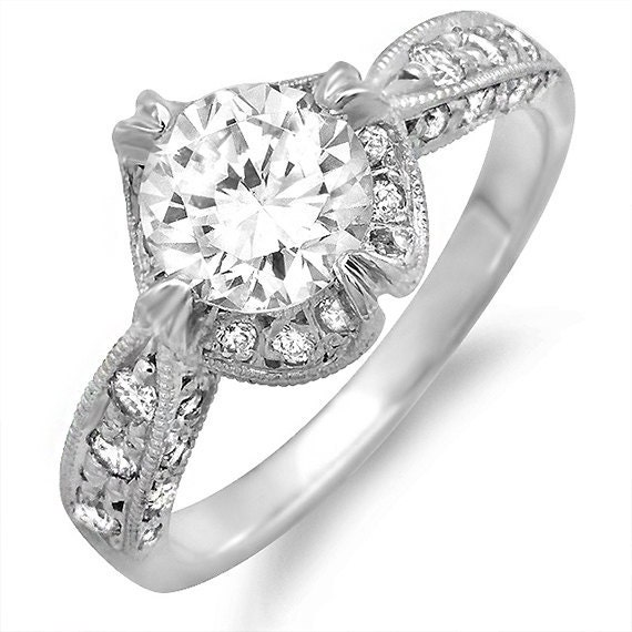 Platinum Russian Classic Diamond Engagement Ring with Natural 1.00 carat White Sapphire