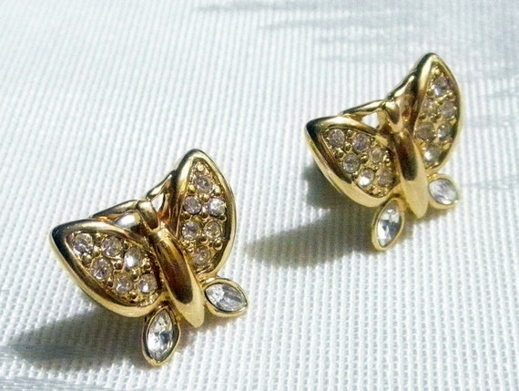 hold for Megan  Vintage small rhinestone gold metal butterfly earrings