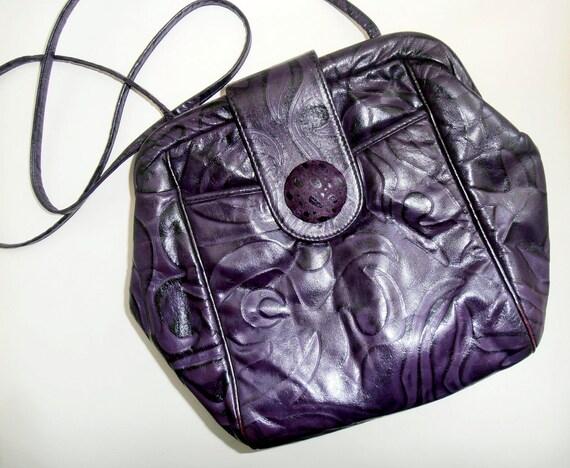 Vintage 80's plum swirl  leather purse