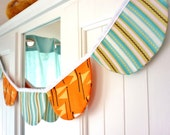 Round Bunting for Boys - Orange and Green/Blue