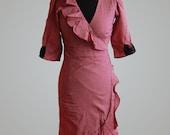 SALE 1950s Vintage Style Handmade Polka Dot Sweetheart Frill Wrap Tea Dress Cherry Red