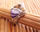 Pewter and semi-precious hand made stone ring, Jasper and Amethyst