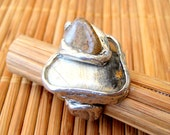 Pewter and semi precious hand made stone ring Jasper and Cream Agate