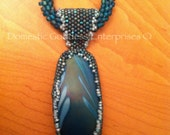 Blue Harmony Bead Embroidered Glass Pendant and Necklace