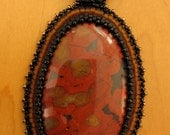 Bead Embroidered Morgan Hill Poppy Jasper Pendant