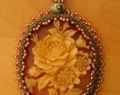 Bead Embroidered Vintage Resin Cameo