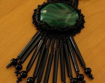 Fringed Malachite Pendant
