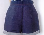 Repro denim shorts 1950's style from vintage pattern rockabilly 40's handmade