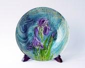 Iris Flowers Decorative Decoupage Glass Plate