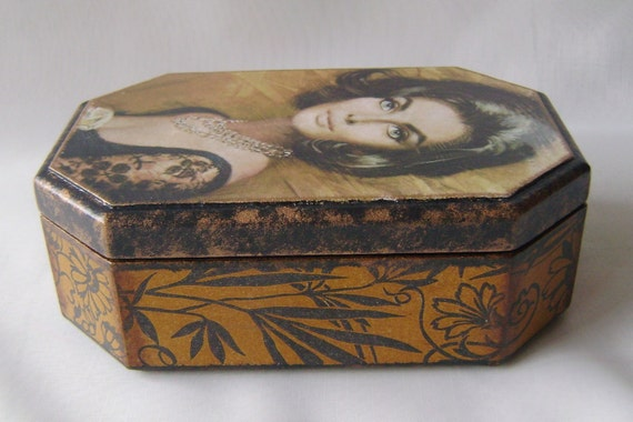 "Decoupage Box for Jewelry made of MDF   ""Femme Fatale"""