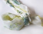 Floral accessories Hand painted Silk Scarf White roses