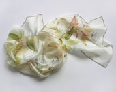 Silk scarf Hand painted Summer fashion Floral pastel green white