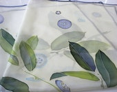 Silk scarf Hand painted Green blue emerald - made TO ORDER