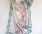 Silk scarf Hand painted Summer fashion Pastel floral Rose emerald green pink terracotta - made TO ORDER