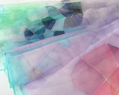 Silk chiffon scarf Hand painted Summer fashion Mosaic pastel purple violet turquoise mint green