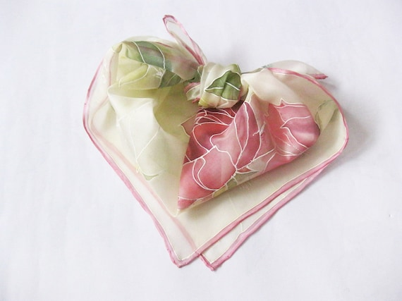 Hand painted Silk scarf Pink flowers roses Spring accessory - made TO ORDER