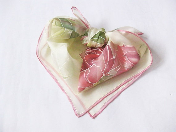 Hand painted Silk scarf Valentines gift Pink flowers roses Spring accessory - made TO ORDER