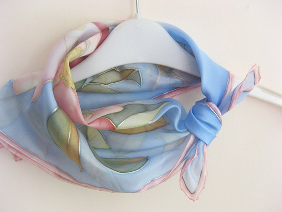 Silk scarf Hand painted Pastel fashion Floral blue pink roses