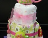 FREE US SHIPPING Garden Delight Pink and Green Girl's 3-tier Diaper Cake