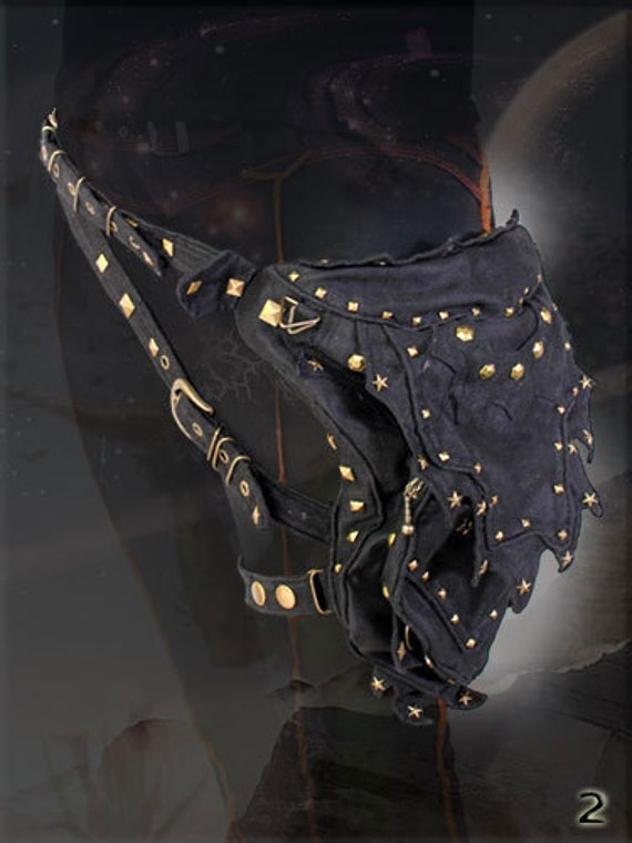 Abracadabra ~ utility pocket Hip Belt with Rivets for burning man playa wear cyber steampunk wardrobe accessory.