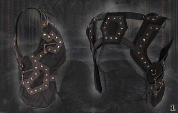 cyber Tron Rivet Holster ~ pocket Shoulder Bag post apocalyptic steampunk clothing fashion
