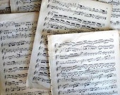 Vintage MUSIC SHEETS Pack of 4 Sheets, large pages with music score on both sides.