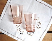 Vintage pair of 2 PINK GLASSES, ancient, clear pink glass.