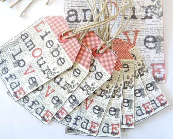 Set of 8 LOVE TAGS, Valentines Day Tags in 4 languages, English, French, German and Dutch.