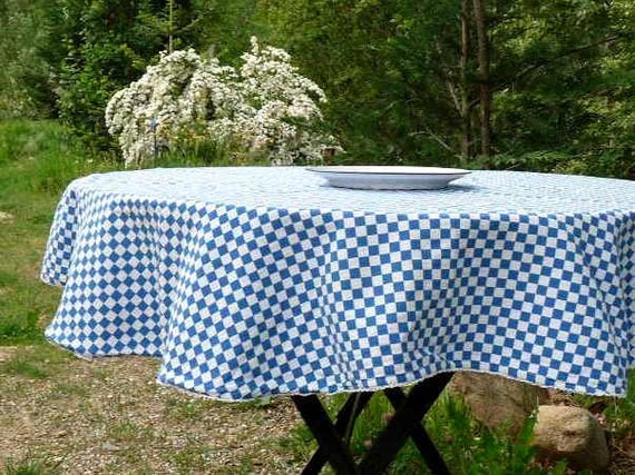 Vintage French linen, Bleu Vichy, CHECKED BLEU TABLECLOTH, cotton with lace.