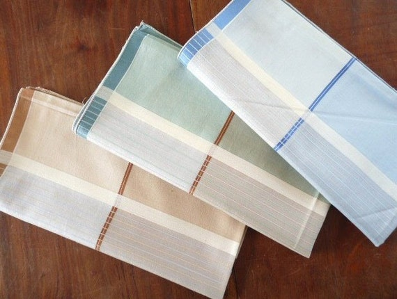 Vintage Set of 3 FRENCH HANKERCHIEFS, Hankies for men, Bleu, Green and Brown, cotton.