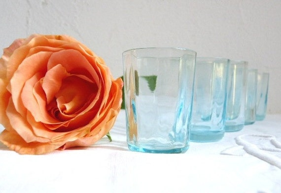 Vintage TURQUOISE SHOT GLASSES set of 5, Clear turquoise glass.