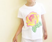 Last chance, now 15% off original price - Back to school girls t-shirt, rose theme, handpainted