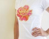 Womens t-shirt, rose theme, handpainted