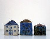 Miniature Ceramic House.Blue stoneware house.OOAK.Mediterranean Cottage.