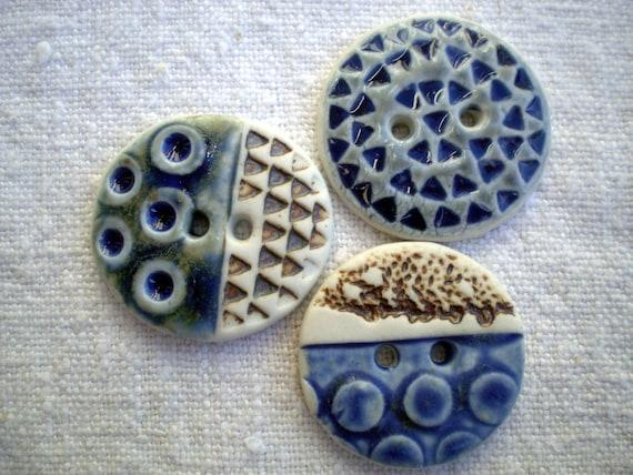 Original ,Blue,Porcelain,Focal Art Buttons. XL Button.OOAK: