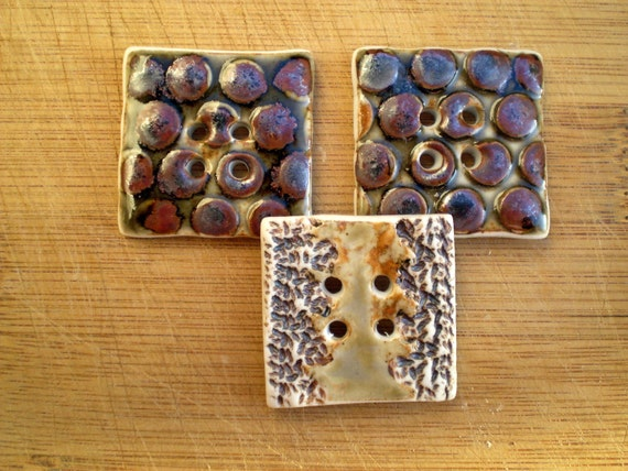 3 Square brown and olive porcelain buttons with funky dots and lace design.